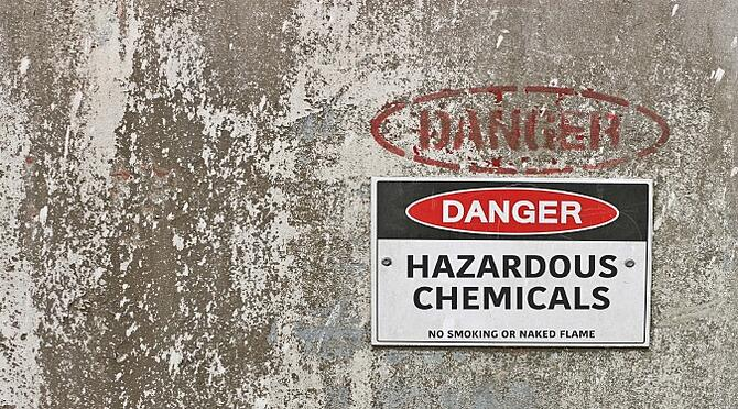 Hazardous chemicals warning sign