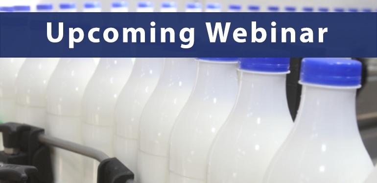 Upcoming Webinar - Milk and Dairy Sampling
